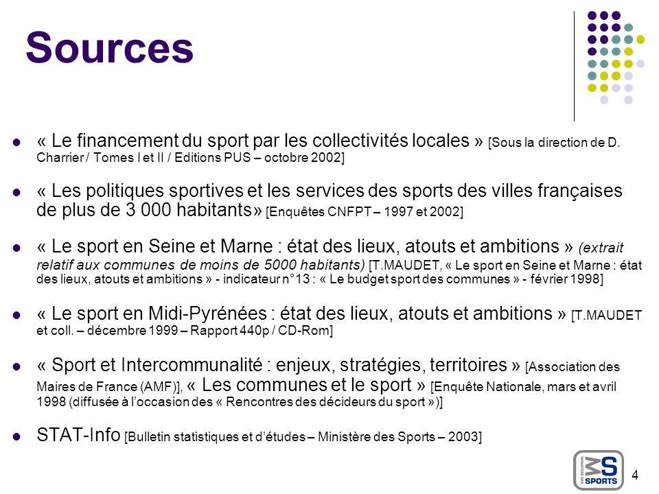 Sources « Le financement du sport par les collectivités locales » [Sous la direction de D. Charrier / Tomes I et II / Editions PUS – octobre 2002]